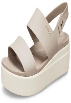 Sandália Crocs Brooklyn Low Wedge W Bege/Creme Crocs