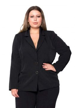 Blazer Plus Size Two Way Basic - Palank Preto Palank Plus S