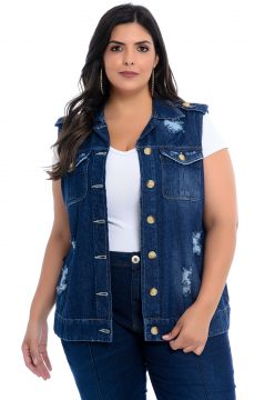 Maxi Colete Plus Size Cambos Jeans Tradicional Destroyed