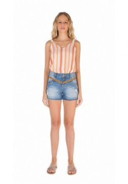 Short Zinco Five Pockets Bordado Jeans