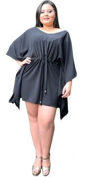 Vestido Curto TNM Collection Plus Size Social Festa Preto