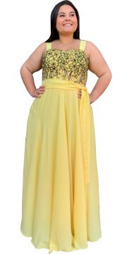 Vestido Longo TNM Collection Plus Size com Renda Amarelo