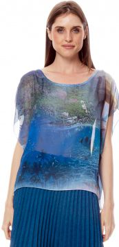 Blusa 101 Resort Wear Poncho Decote Careca Crepe Estampado