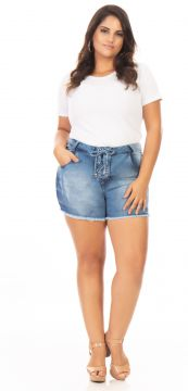 Short Jeans Feminino Lace Up Plus Size