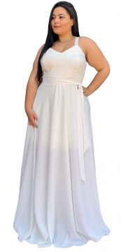 Vestido Longo TNM Collection Plus Size com Renda Branco