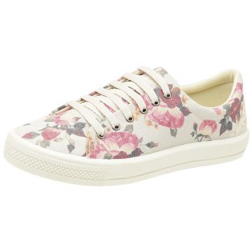 Tênis Feminino Zoccolette Tênis Casual Floral Bege
