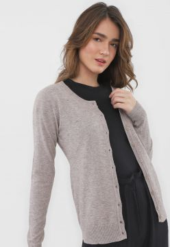 Cardigan Facinelli by MOONCITY Tricot Texturas Cinza