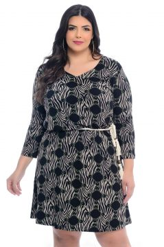 Vestido Plus Size Barrieli Estampado Luara