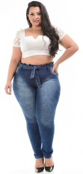 Calça Jeans Helix Plus Size Clochard Analice Azul