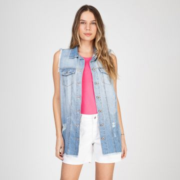 Colete Jeans Bloom Boyfriend Destroyed Delavê