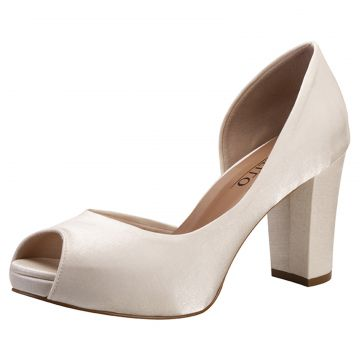 Peep Toe Noiva Salto Confortavel Santello Off White