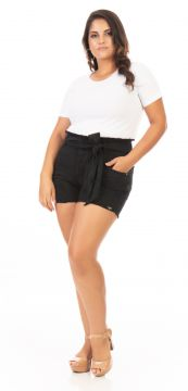 Short Feminino Jeans Clochard com Puídos Plus Size