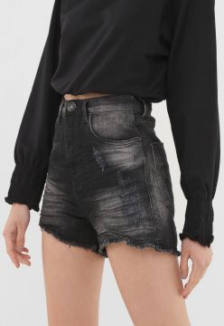 Short Jeans Lez a Lez Destroyed Preto