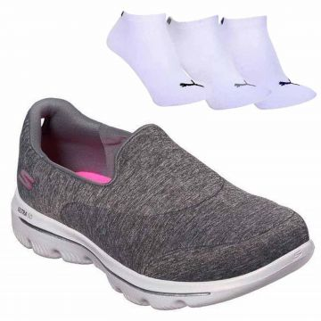 Kit Tênis Skechers Go Walk Evolution Ultra Amaze + 3 Pares