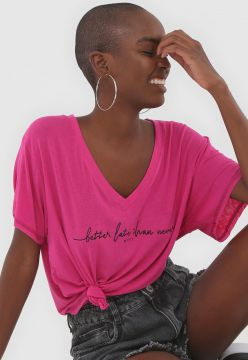 Camiseta My Favorite Thing(s) Lettering Rosa
