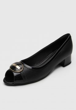 Peep Toe Piccadilly Aplique Preto