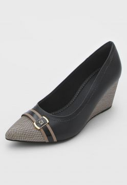 Scarpin Piccadilly Anabela Preto/Bege