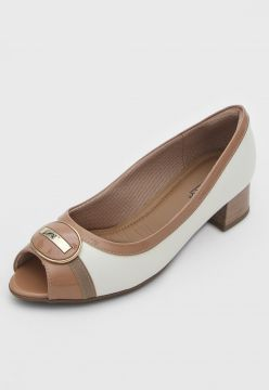 Peep Toe Piccadilly Recortes Off-White/Nude