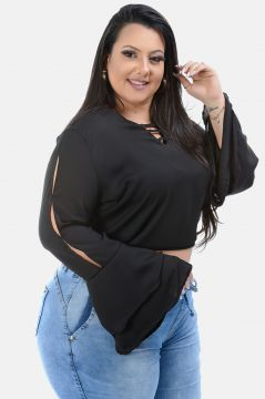 Cropped Plus Size Sig Estilo Plus Size Preto