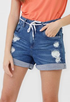 Short Jeans Malwee Destroyed Azul