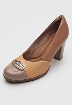 Scarpin Piccadilly Aplique Bege
