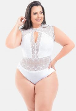 Body Renda Sig Estilo Plus Size Decote Branco