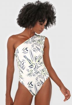 Body Dupla Face dimy Estampado Off-White/Verde