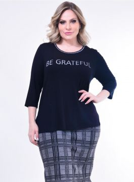 Blusa Plus Size Be: Preto: 46