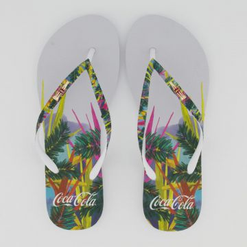 Chinelo Coca Cola Tropical Color Feminino Branco.