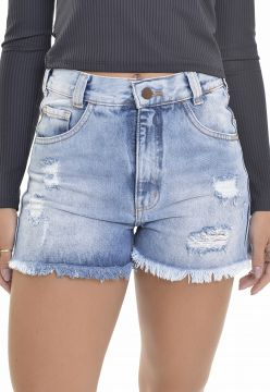Short Jeans Lemier Collection Mom Com Puídos e Rasgos