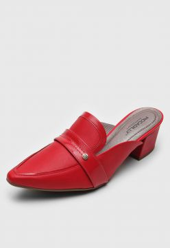 Scarpin Mule Piccadilly Recortes Vermelho