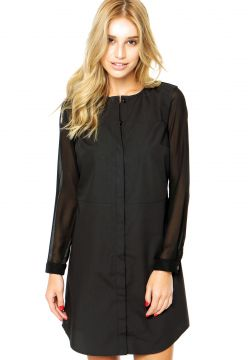 Vestido Finery London Lansdell Sheer Sleeved Shirt Preto