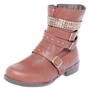 Bota DAFITI SHOES Coturno Metais Marrom