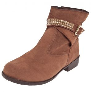 Bota DAFITI SHOES Cano Curto Metais Marrom DAFITI SHOES