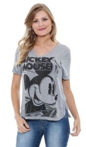 Blusa feminina manga curta High Low Mickey Disney
