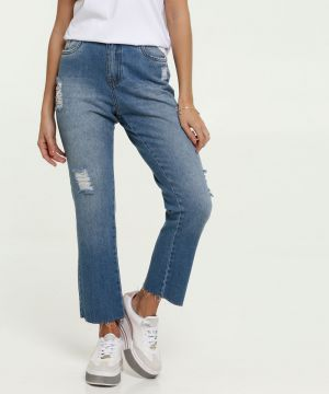 Calça Jeans Feminina Mom Destroyed Marisa