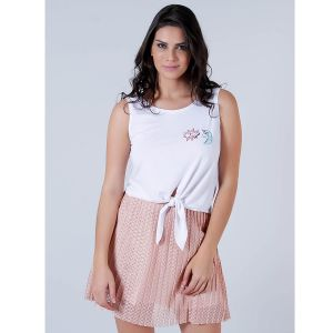 Top Cropped com Patches Feminino Lara - Branco