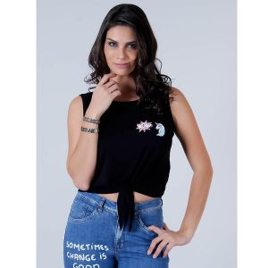 Top Cropped com Patches Feminino Lara - Preto