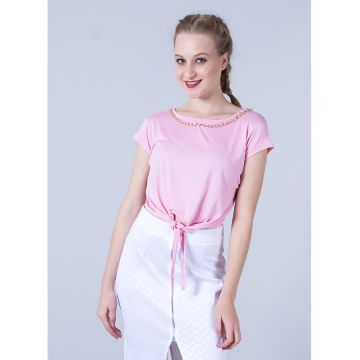 Top Cropped com Corrente Feminino Runner - Rosa