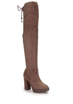 Bota Over The Knee Feminina Lara - Taupe