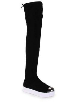 Bota Over The Knee Feminina Azaleia - Pto/Prata