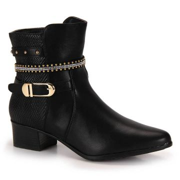 Ankle Boots Mooncity Tachas - Preto