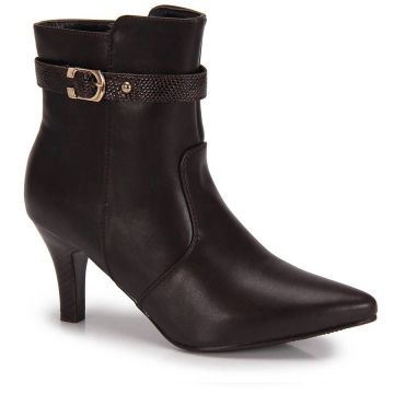 Ankle Boots Bico Fino Mooncity Fivela - Cafe
