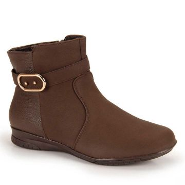 Ankle Boots Bico Redondo Mooncity Fivela - Cafe
