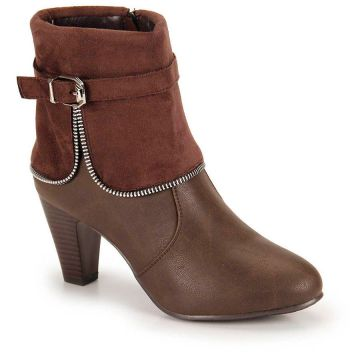 Ankle Boots Salto Grosso Mooncity Fivela - Cafe
