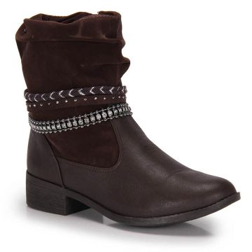 Ankle Boots Salto Grosso Dakota Strass - Cafe