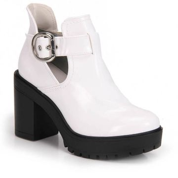 Bota Cut Out Salto Grosso Via Marte Fivela - Branco